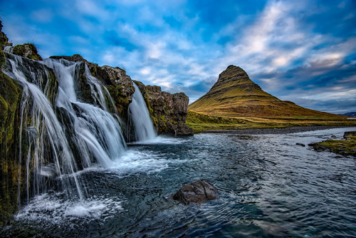 Kirkjufell and falls, Iceland.  Photo by David Mark.  All rights reserved.