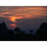 Sunset from Chisos Basin Lodge. Photo by Rick Taylor. Copyright Borderland Tours. All rights reserved.