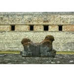 Double-headed Jaguars at Uxmal. Photo by Rick Taylor. Copyright Borderland Tours. All rights reserved.