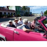 Pink Converrtible ride in Old Havana. Photo by Rick Taylor. Copyright Borderland Tours. All rights reserved.